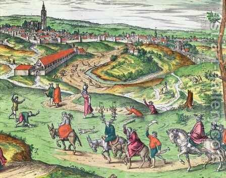 Town Plan of Seville from Civitates Orbis Terrarum by (after) Hoefnagel, Joris - Reproduction Oil Painting