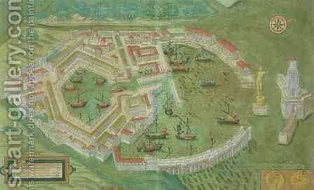 Map of Ostia from Civitates Orbis Terrarum by (after) Hoefnagel, Joris - Reproduction Oil Painting