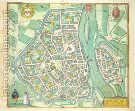 Map of Maastricht from Civitates Orbis Terrarum by (after) Hoefnagel, Joris - Reproduction Oil Painting
