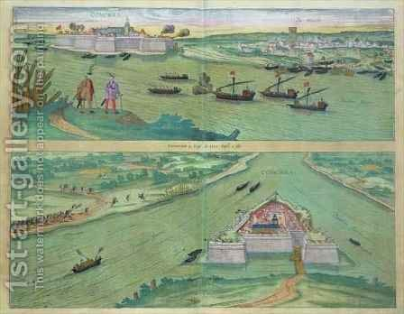 Two Views of Comorra from Civitates Orbis Terrarum by (after) Hoefnagel, Joris - Reproduction Oil Painting