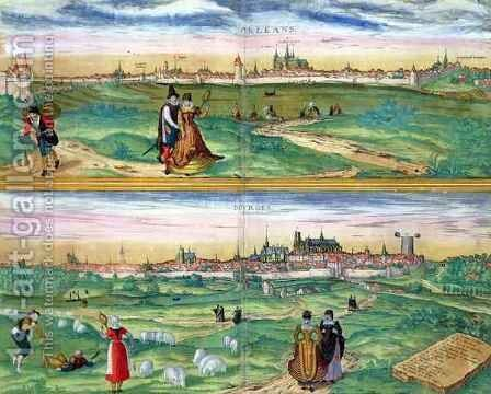 Map of Orleans and Bourges from Civitates Orbis Terrarum by (after) Hoefnagel, Joris - Reproduction Oil Painting