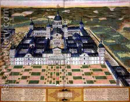 Plan of the Monastery of El Escorial from Civitates Orbis Terrarum by (after) Hoefnagel, Joris - Reproduction Oil Painting