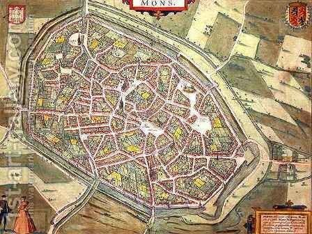 Map of Mons from Civitates Orbis Terrarum by (after) Hoefnagel, Joris - Reproduction Oil Painting