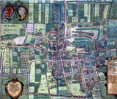 Map of the Hague from Civitates Orbis Terrarum by (after) Hoefnagel, Joris - Reproduction Oil Painting