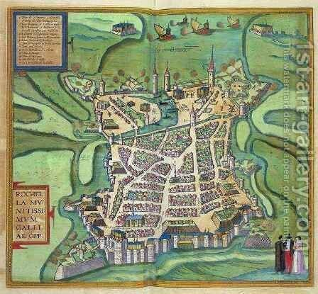 Map of La Rochelle from Civitates Orbis Terrarum by (after) Hoefnagel, Joris - Reproduction Oil Painting
