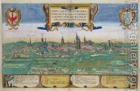 Map of Lublin from Civitates Orbis Terrarum by (after) Hoefnagel, Joris - Reproduction Oil Painting
