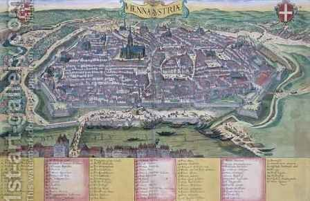 Map of Vienna from Civitates Orbis Terrarum by (after) Hoefnagel, Joris - Reproduction Oil Painting