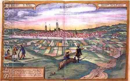 Map of St Polten from Civitates Orbis Terrarum by (after) Hoefnagel, Joris - Reproduction Oil Painting