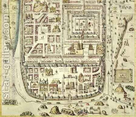 Map of Jerusalem and the surrounding area from Civitates Orbis Terrarum by (after) Hoefnagel, Joris - Reproduction Oil Painting