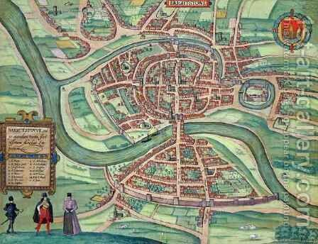 Map of Bristol from Civitates Orbis Terrarum 2 by (after) Hoefnagel, Joris - Reproduction Oil Painting