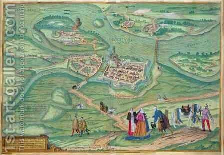 Map of Raab from Civitates Orbis Terrarum by (after) Hoefnagel, Joris - Reproduction Oil Painting