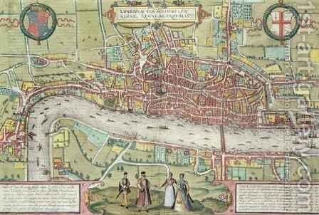 Map of London from Civitates Orbis Terrarum 2 by (after) Hoefnagel, Joris - Reproduction Oil Painting