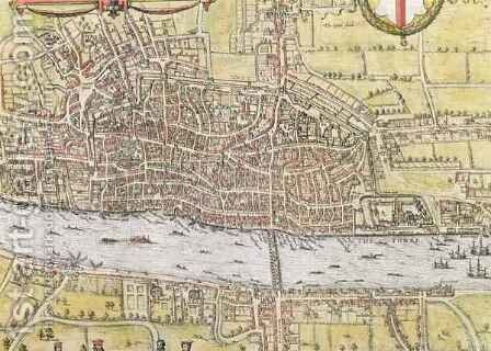 Map of London from Civitates Orbis Terrarum 3 by (after) Hoefnagel, Joris - Reproduction Oil Painting