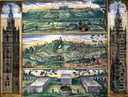 Map of Forata and Jeresa from Civitates Orbis Terrarum by (after) Hoefnagel, Joris - Reproduction Oil Painting