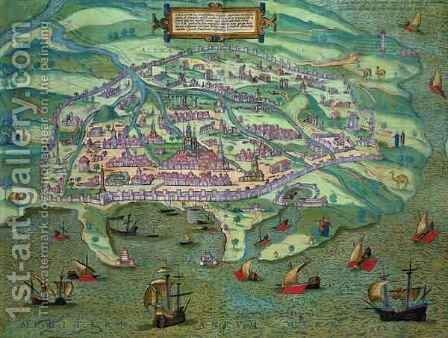 Map of Alexandria from Civitates Orbis Terrarum by (after) Hoefnagel, Joris - Reproduction Oil Painting