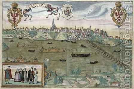 Map of Warsaw from Civitates Orbis Terrarum 2 by (after) Hoefnagel, Joris - Reproduction Oil Painting