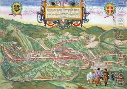 Map of Serravalle from Civitates Orbis Terrarum by (after) Hoefnagel, Joris - Reproduction Oil Painting