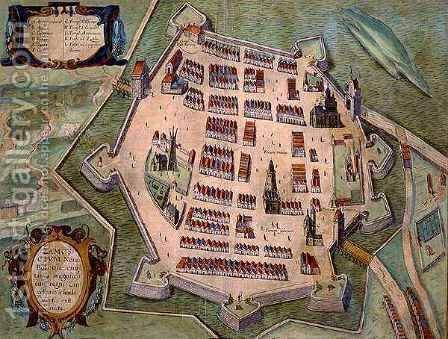 Map of Zamosc from Civitates Orbis Terrarum by (after) Hoefnagel, Joris - Reproduction Oil Painting