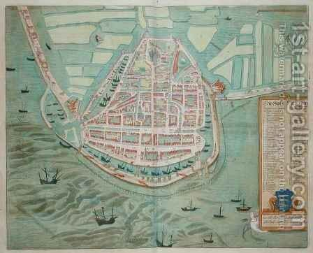 Plan of Enchunsen from Civitates Orbis Terrarum by (after) Hoefnagel, Joris - Reproduction Oil Painting