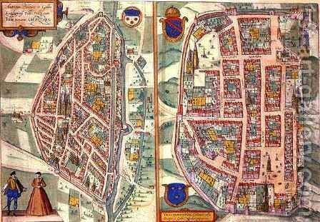 Maps of Chartres and Dunois from Civitates Orbis Terrarum by (after) Hoefnagel, Joris - Reproduction Oil Painting