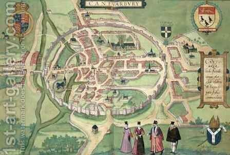 Map of Canterbury from Civitates Orbis Terrarum by (after) Hoefnagel, Joris - Reproduction Oil Painting