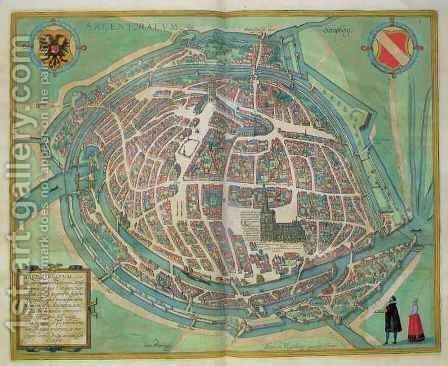 Map of Strasbourg from Civitates Orbis Terrarum by (after) Hoefnagel, Joris - Reproduction Oil Painting