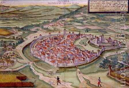 Map of Novara from Civitates Orbis Terrarum by (after) Hoefnagel, Joris - Reproduction Oil Painting
