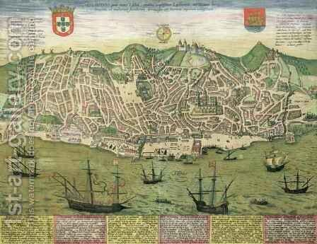 Map of Lisbon from Civitates Orbis Terrarum by (after) Hoefnagel, Joris - Reproduction Oil Painting