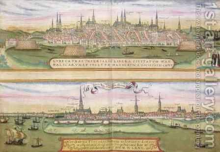 Map of Lubeck and Hamburg from Civitates Orbis Terrarum by (after) Hoefnagel, Joris - Reproduction Oil Painting