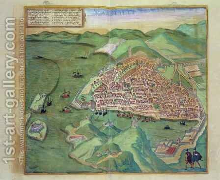 Map of Marseilles from Civitates Orbis Terrarum by (after) Hoefnagel, Joris - Reproduction Oil Painting