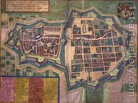 Map of Nancy from Civitates Orbis Terrarum by (after) Hoefnagel, Joris - Reproduction Oil Painting