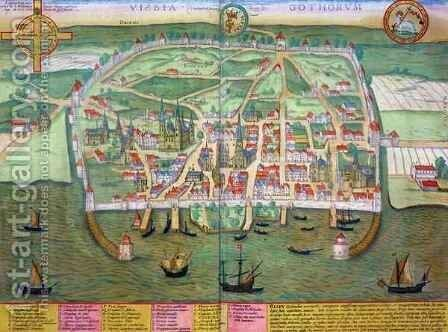 Map of Visby from Civitates Orbis Terrarum by (after) Hoefnagel, Joris - Reproduction Oil Painting