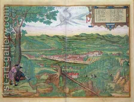 Map of Linz from Civitates Orbis Terrarum by (after) Hoefnagel, Joris - Reproduction Oil Painting