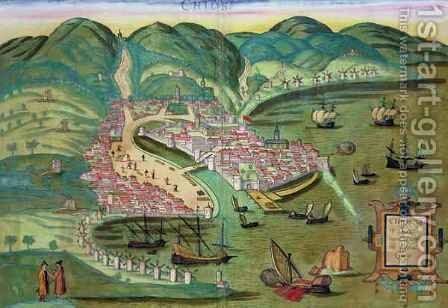 Map of Chios from Civitates Orbis Terrarum by (after) Hoefnagel, Joris - Reproduction Oil Painting