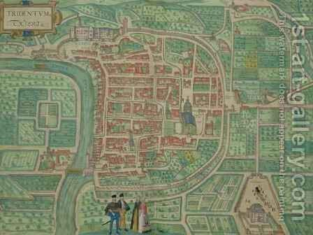 Map of Trento from Civitates Orbis Terrarum by (after) Hoefnagel, Joris - Reproduction Oil Painting