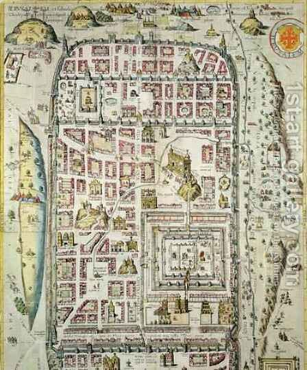 Map of Jerusalem and the surrounding area from Civitates Orbis Terrarum 3 by (after) Hoefnagel, Joris - Reproduction Oil Painting