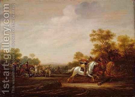 A Skirmish of Cavalry by Abraham van der Hoef - Reproduction Oil Painting