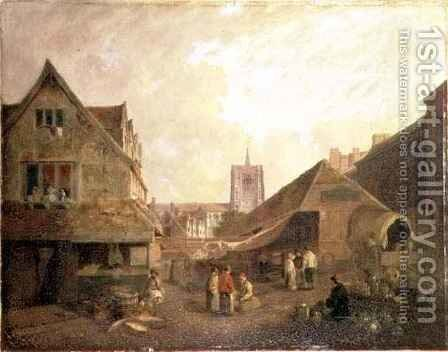 Old Fishmarket Norwich by David Hodgson - Reproduction Oil Painting