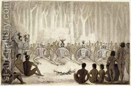 Dance at the Conclusion of the Cawarra Ceremonies by Clement Hodgkinson - Reproduction Oil Painting