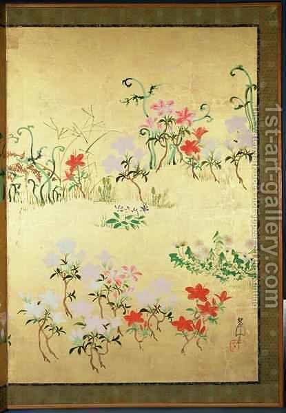 Flowers of the seasons by Nakamura Hochu - Reproduction Oil Painting