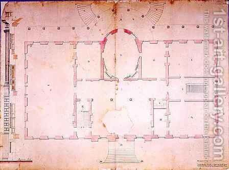 Plan of the Presidents House Washington by James Hoban - Reproduction Oil Painting