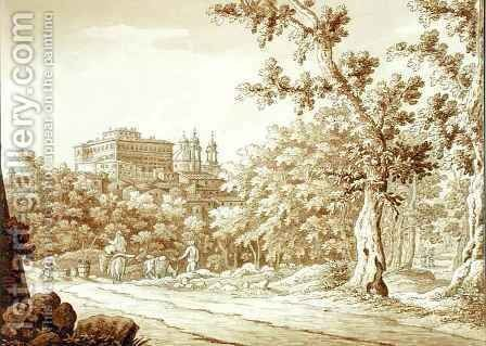 View at Valmontone from a volume of 66 views drawn from nature in the neighbourhood of Rome and Abruzzo 2 by Sir Richard Colt Hoare - Reproduction Oil Painting
