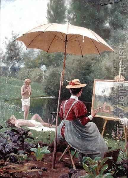 The Artists Model by Hermann Hirsch - Reproduction Oil Painting