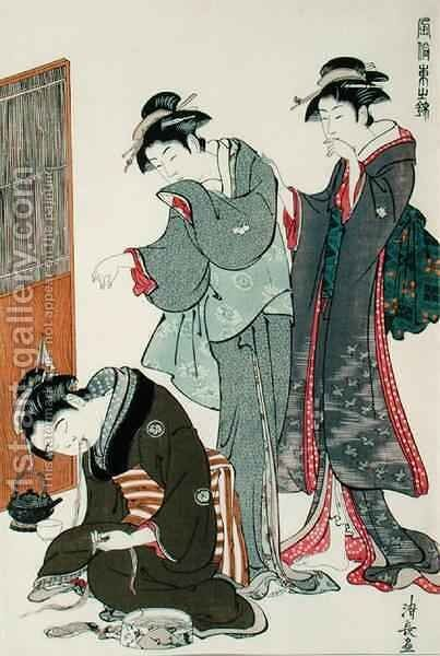 Dozing Tea Seller by (after) Hiroshige, Ando or Utagawa - Reproduction Oil Painting