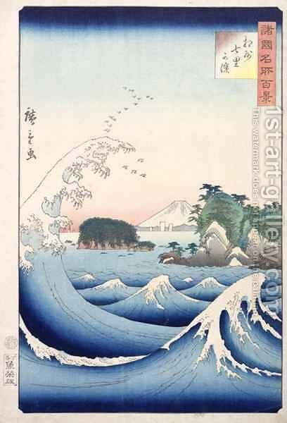 The Wave from the series 100 Views of the Provinces by (after) Hiroshige, Ando or Utagawa - Reproduction Oil Painting