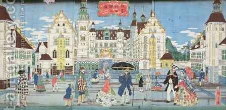 Landscape of a prosperous town in America by Hiroshige II (Ichiusai Shigenobu) - Reproduction Oil Painting