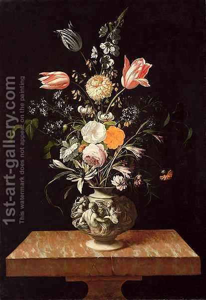 Vase with Relief and Flowers on a Marble Table by Johann Georg (also Hintz, Hainz, Heintz) Hinz - Reproduction Oil Painting