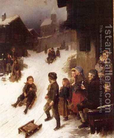 The Sledge Ride by Johann Ferdinand Julius Hintze - Reproduction Oil Painting