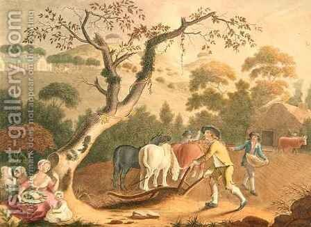 View of ploughing sowing flax seed and harrowing by (after) Hincks, William - Reproduction Oil Painting