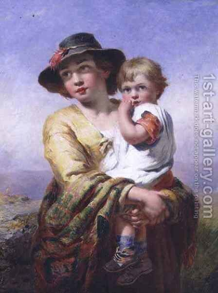 Mother and child by James John Hill - Reproduction Oil Painting